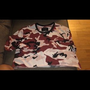 PACSUN Camouflage crop top! Brown / black / tan